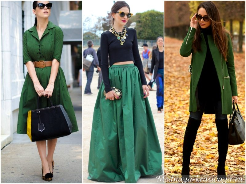 Цветотип зима в зеленых оттенках одежды